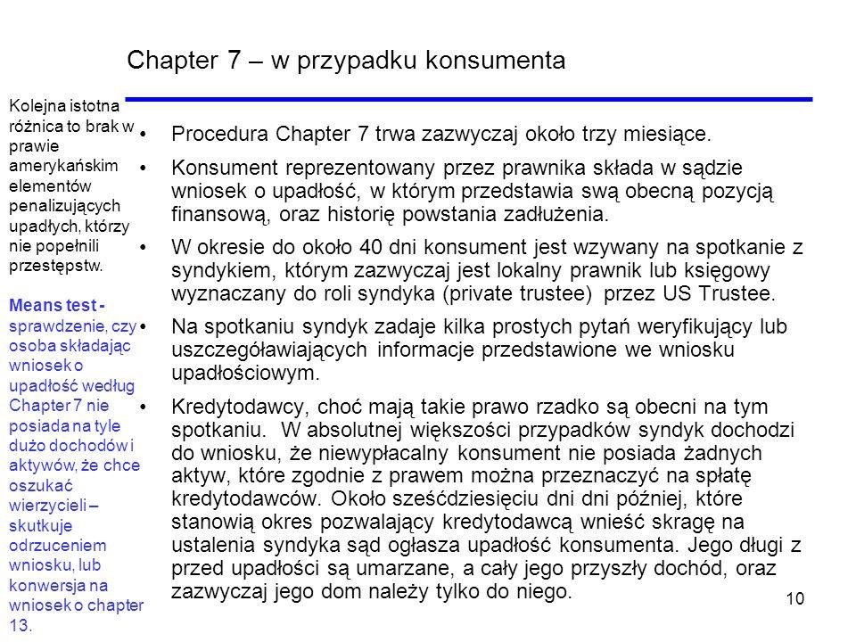 10 Chapter 7 – w przypadku konsumenta Procedura Chapter 7 trwa zazwyczaj około trzy miesiące. Konsument reprezentowany przez prawnika składa w sądzie