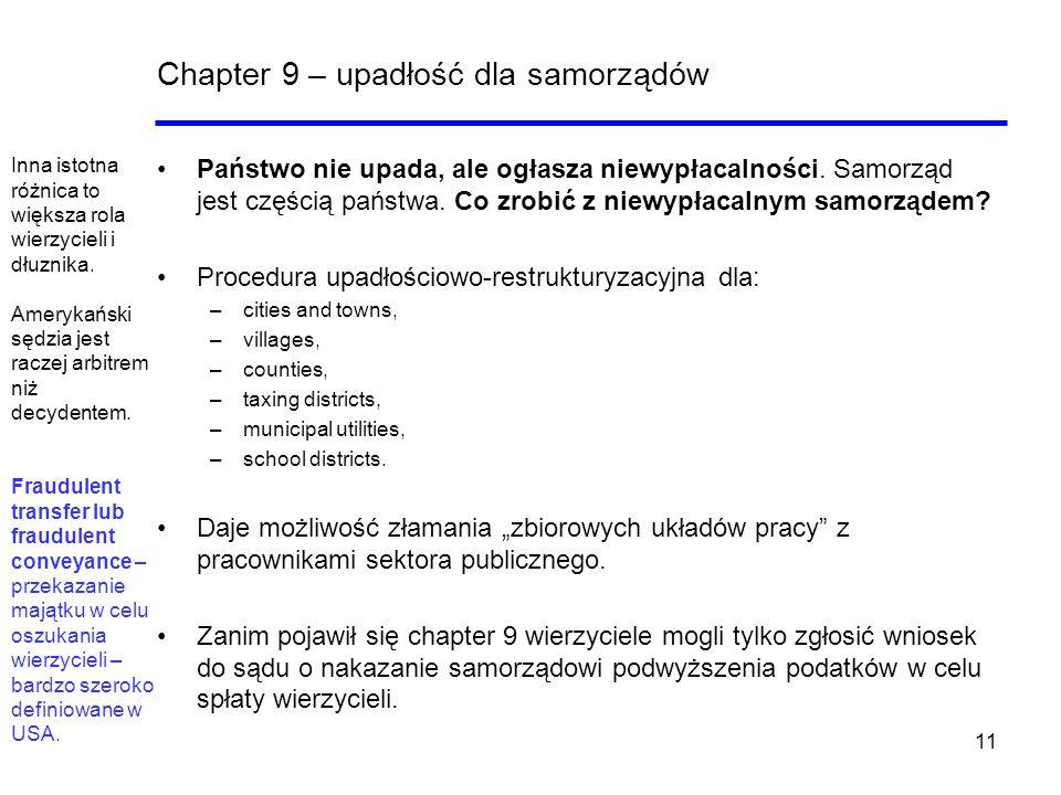 11 Chapter 9 – upadłość dla samorządów Państwo nie upada, ale ogłasza niewypłacalności. Samorząd jest częścią państwa. Co zrobić z niewypłacalnym samo