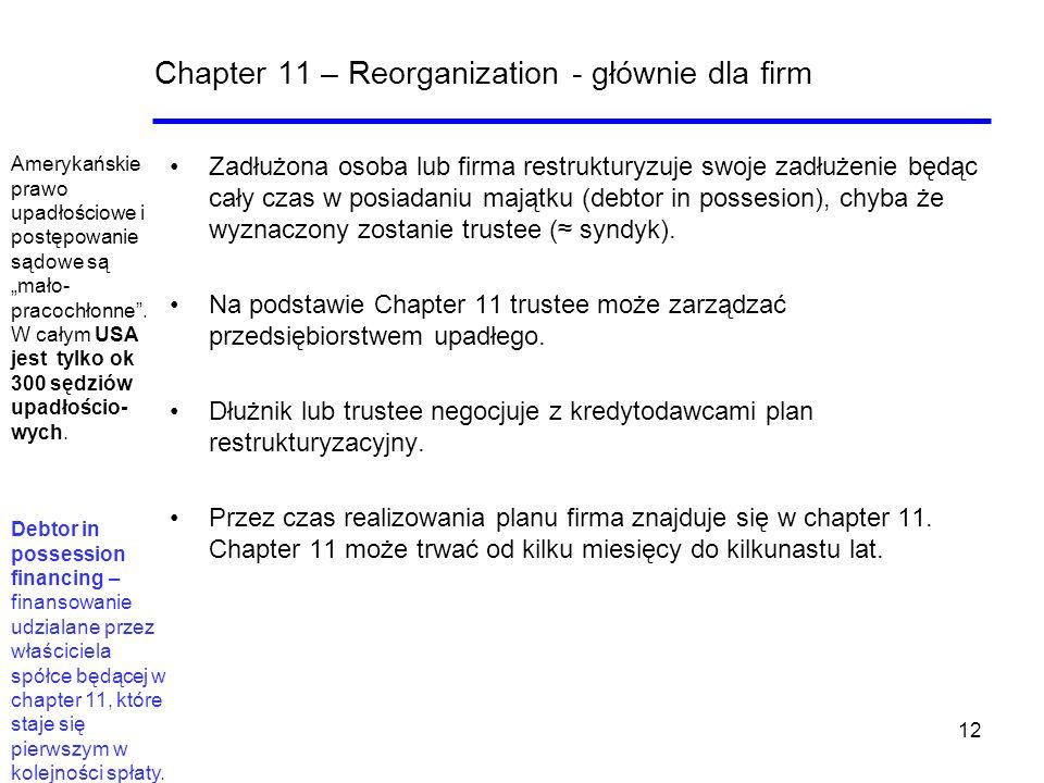12 Chapter 11 – Reorganization - głównie dla firm Zadłużona osoba lub firma restrukturyzuje swoje zadłużenie będąc cały czas w posiadaniu majątku (deb