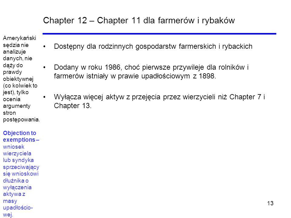 13 Chapter 12 – Chapter 11 dla farmerów i rybaków Dostępny dla rodzinnych gospodarstw farmerskich i rybackich Dodany w roku 1986, choć pierwsze przywi