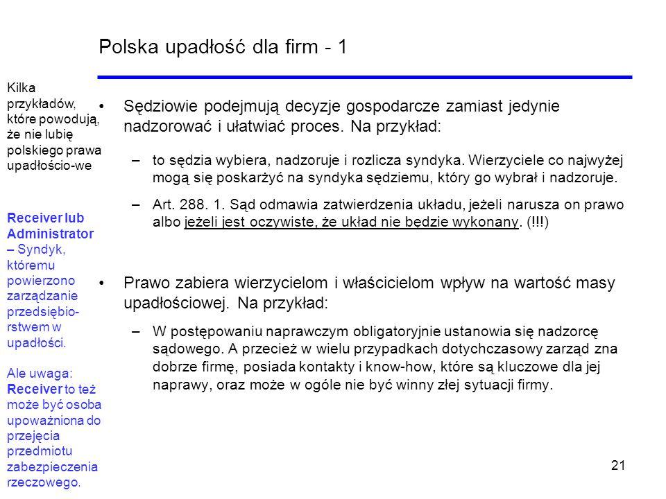 21 Polska upadłość dla firm - 1 Sędziowie podejmują decyzje gospodarcze zamiast jedynie nadzorować i ułatwiać proces. Na przykład: –to sędzia wybiera,