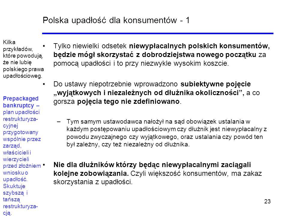23 Polska upadłość dla konsumentów - 1 Tylko niewielki odsetek niewypłacalnych polskich konsumentów, będzie mógł skorzystać z dobrodziejstwa nowego po