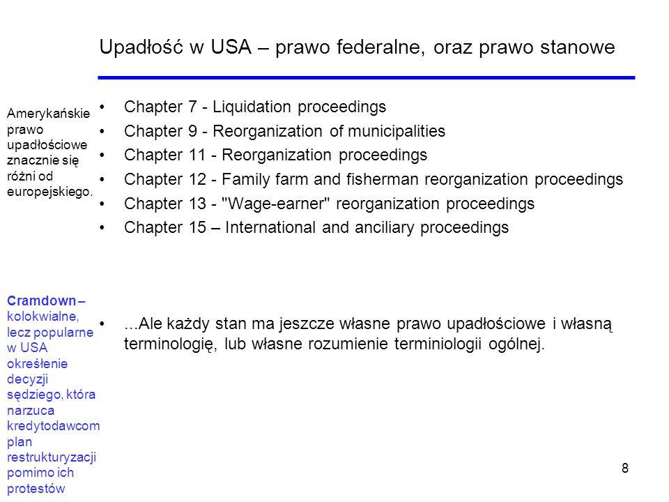 8 Upadłość w USA – prawo federalne, oraz prawo stanowe Chapter 7 - Liquidation proceedings Chapter 9 - Reorganization of municipalities Chapter 11 - R
