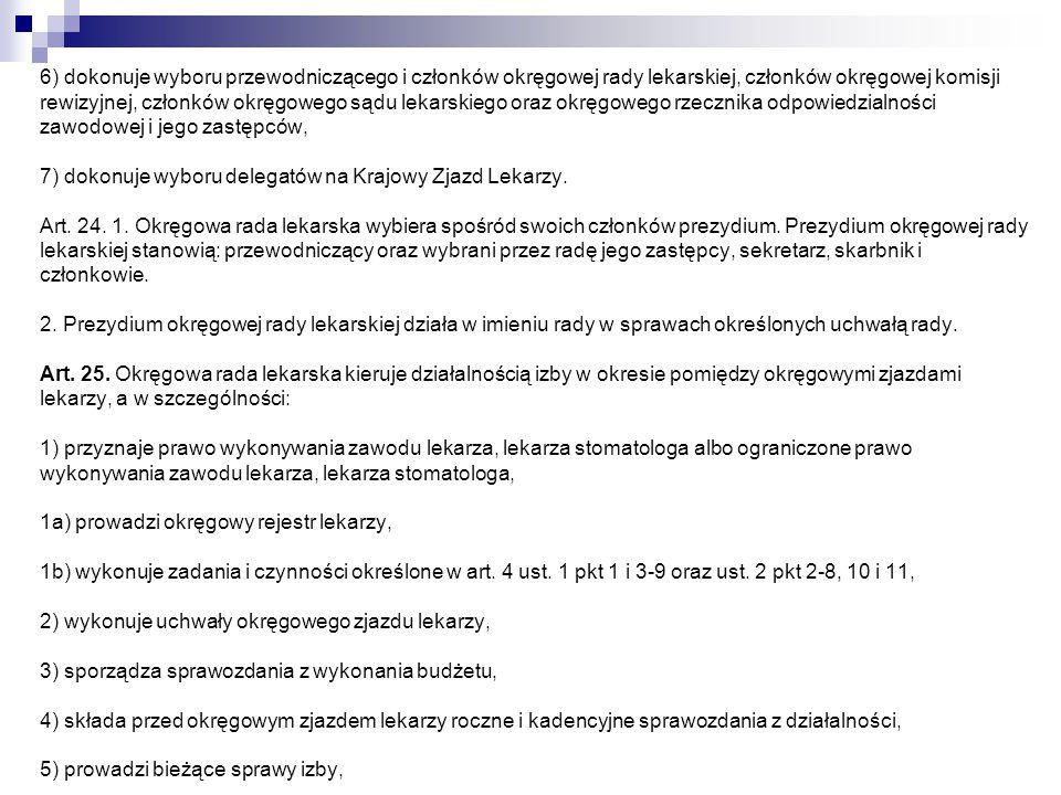 6) wykonuje zadania zlecone przez Naczelną Radę Lekarską, Art.