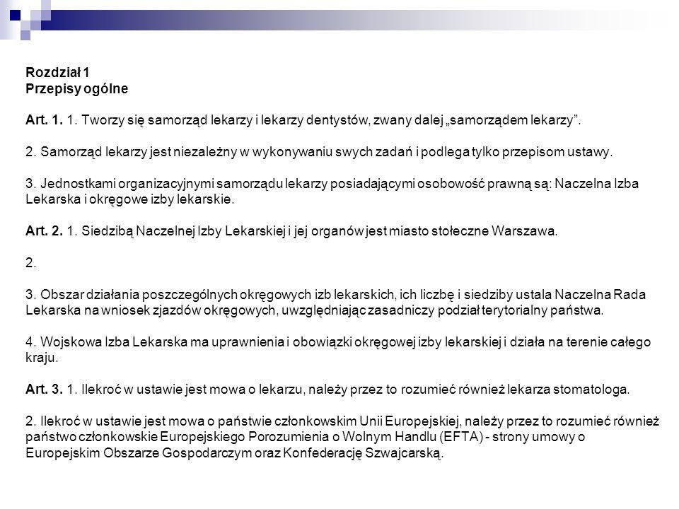 Rozdział 2 Zadania i zasady działania samorządu lekarzy Art.