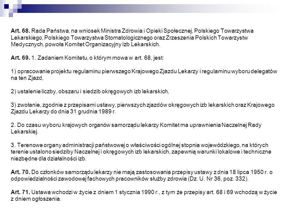 Art. 68. Rada Państwa, na wniosek Ministra Zdrowia i Opieki Społecznej, Polskiego Towarzystwa Lekarskiego, Polskiego Towarzystwa Stomatologicznego ora