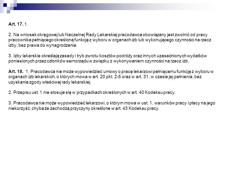 Rozdział 4 Okręgowe izby lekarskie Art.19.
