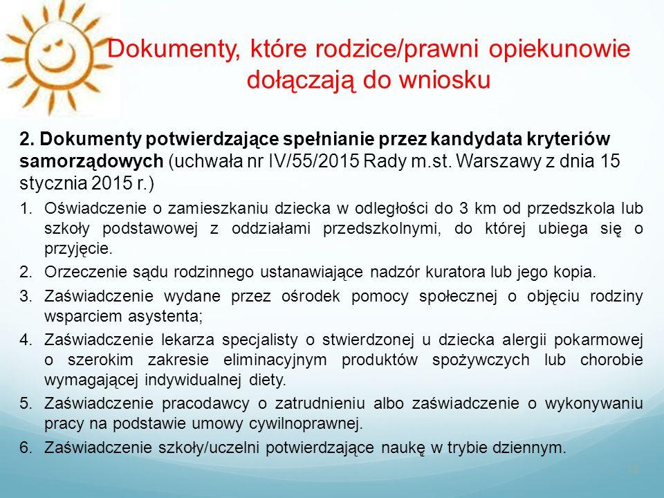 Dokumenty, które rodzice/prawni opiekunowie dołączają do wniosku 13 2. Dokumenty potwierdzające spełnianie przez kandydata kryteriów samorządowych (uc