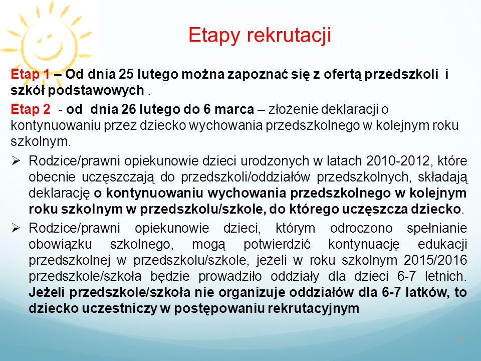 Etapy rekrutacji 16 Etap 1 – Od dnia 25 lutego można zapoznać się z ofertą przedszkoli i szkół podstawowych. Etap 2 - od dnia 26 lutego do 6 marca – z
