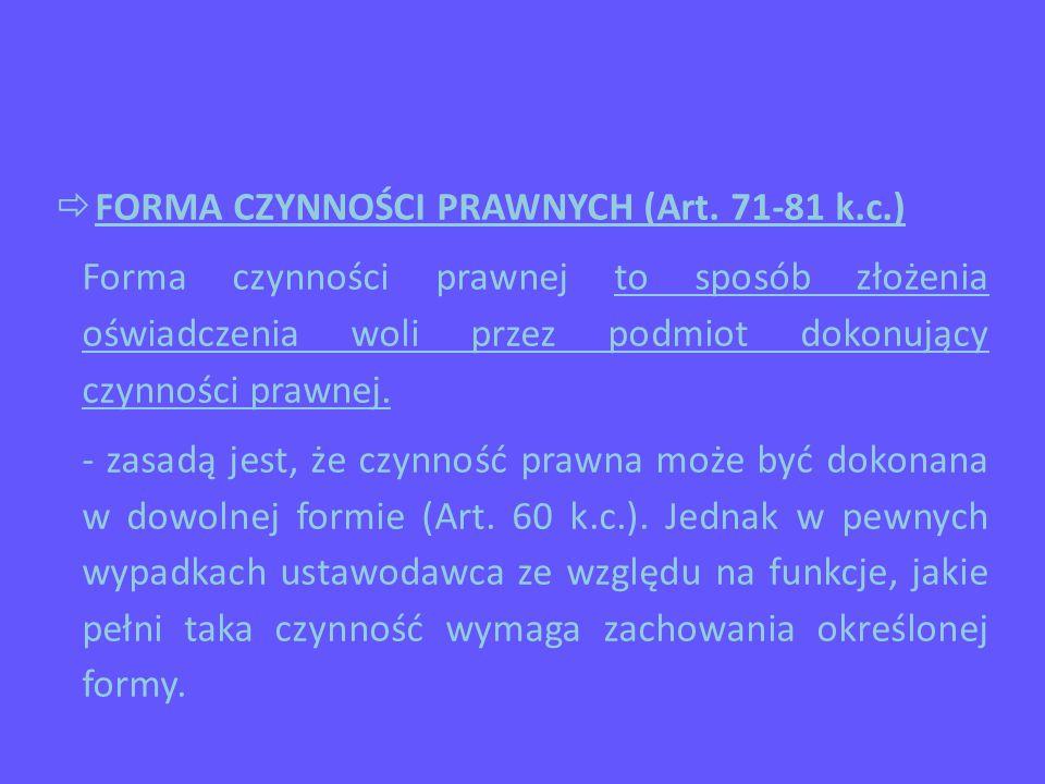  FORMA CZYNNOŚCI PRAWNYCH (Art.