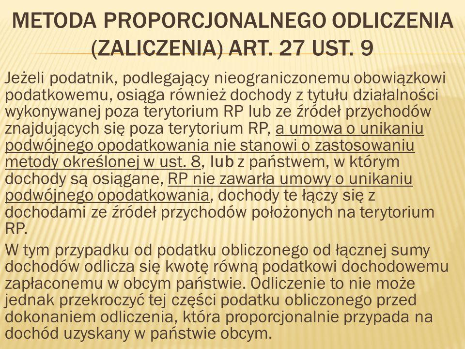 METODA PROPORCJONALNEGO ODLICZENIA (ZALICZENIA) ART.