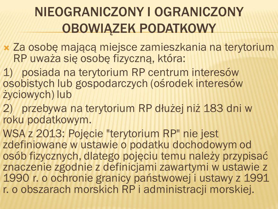  WSA z 2012 r.: Aby można było mówić o miejscu zamieszkania na terenie RP (polskiej rezydencji podatkowej) przez konkretnego podatnika, musi on posiadać na terytorium Polski centrum interesów osobistych lub gospodarczych lub też czas pobytu danej osoby na terytorium Polski powinien przekroczyć 183 dni w ciągu roku podatkowego.