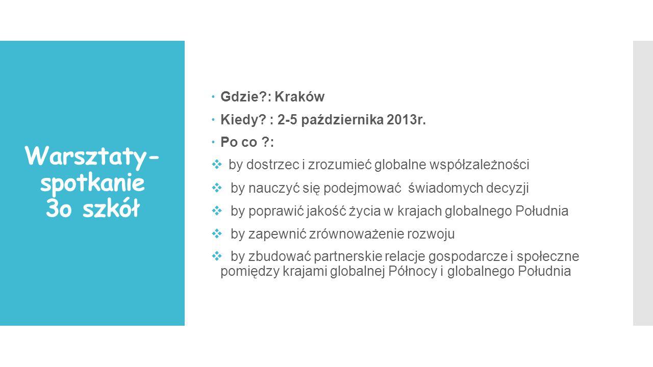 Warsztaty- spotkanie 3o szkół  Gdzie : Kraków  Kiedy.
