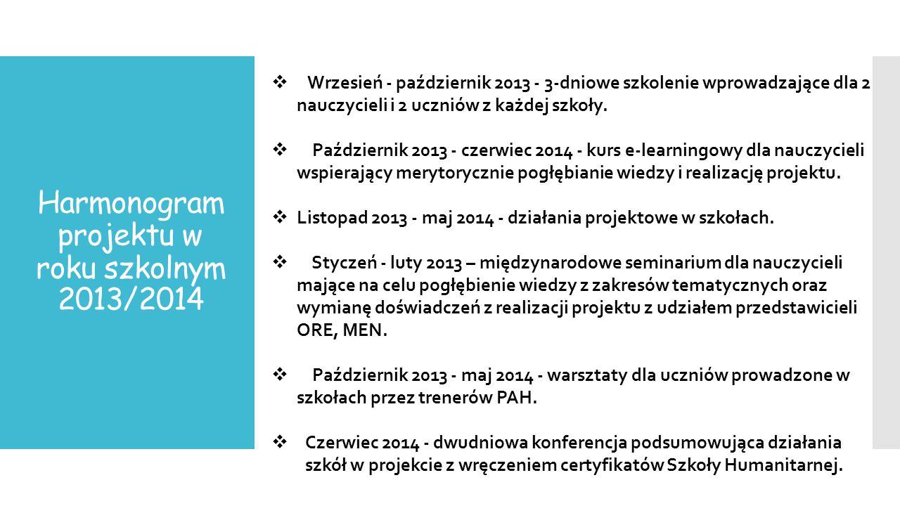 Harmonogram projektu w roku szkolnym 2013/2014  Wrzesień - październik 2013 - 3-dniowe szkolenie wprowadzające dla 2 nauczycieli i 2 uczniów z każdej szkoły.