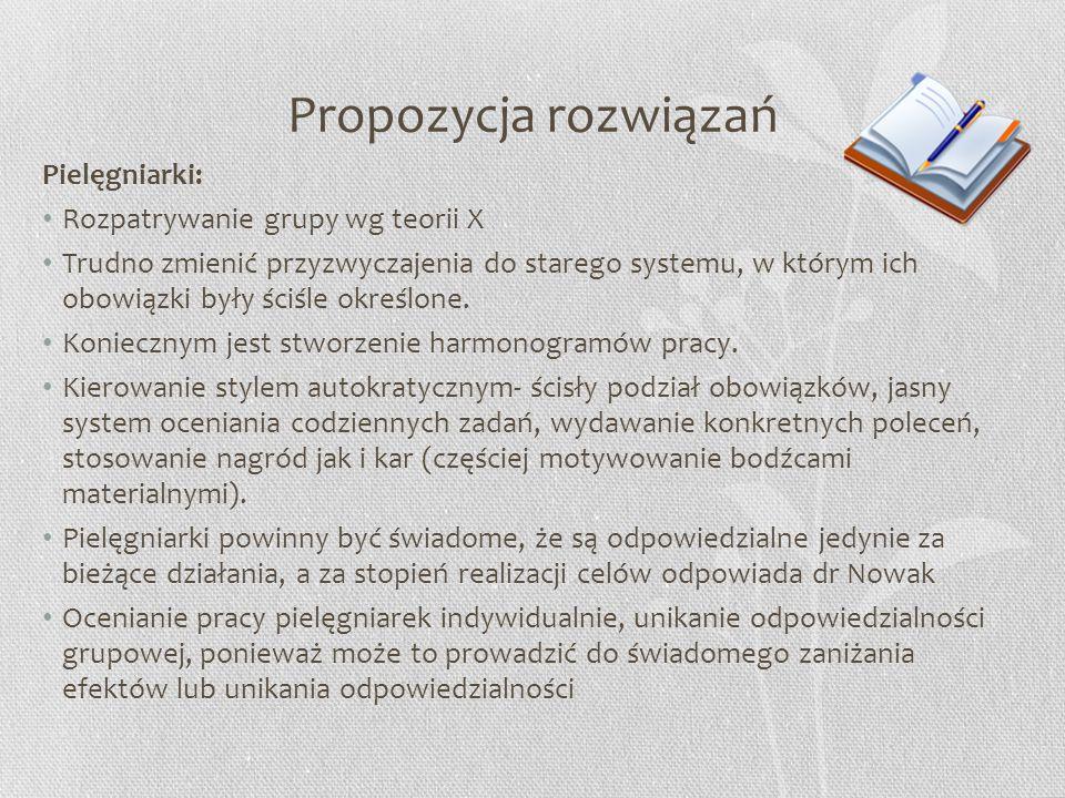 Propozycja rozwiązań Pielęgniarki: Rozpatrywanie grupy wg teorii X Trudno zmienić przyzwyczajenia do starego systemu, w którym ich obowiązki były ściś