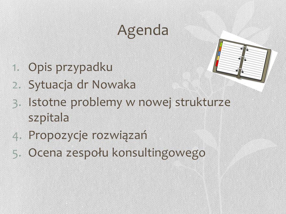 Agenda 1.Opis przypadku 2.Sytuacja dr Nowaka 3.Istotne problemy w nowej strukturze szpitala 4.Propozycje rozwiązań 5.Ocena zespołu konsultingowego