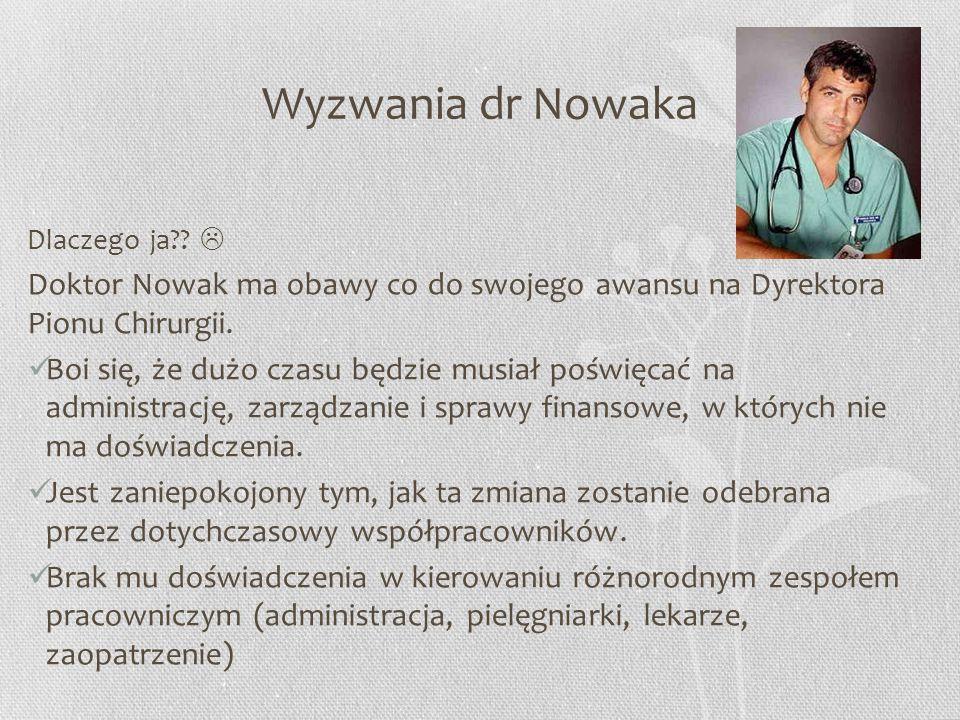 Wyzwania dr Nowaka Dlaczego ja??  Doktor Nowak ma obawy co do swojego awansu na Dyrektora Pionu Chirurgii. Boi się, że dużo czasu będzie musiał poświ