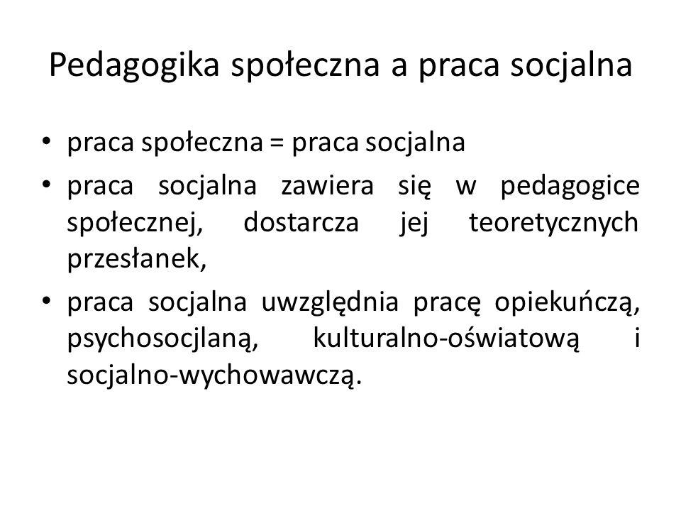 Pedagogika społeczna a praca socjalna praca społeczna = praca socjalna praca socjalna zawiera się w pedagogice społecznej, dostarcza jej teoretycznych