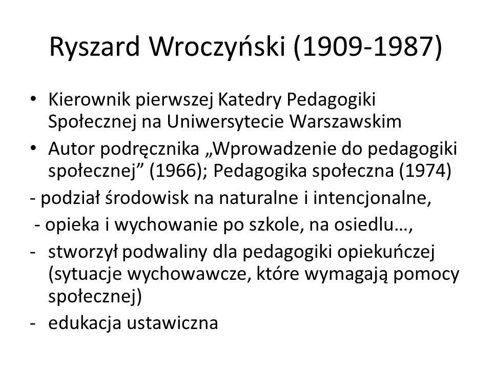 """Aleksander Kamiński (1903-1978) Współpracownik Heleny Radlińskiej w Uniwersytecie Łódzkim, Publikacje: -""""Kamienie na szaniec , """"Zośka i Parasol -""""Nauczanie i wychowanie metodą harcerską -""""Czas wolny i jego problematyka społeczno-wychowawcza (1965) -""""Funkcje pedagogiki społecznej (1972, 1974, 1980) – analizował poglądy osób i doktryn (marksistowskiej, katolickich, uczonych (zachodnio)niemieckich), - 1972: Samorząd młodzieży jako metoda wychowawcza"""