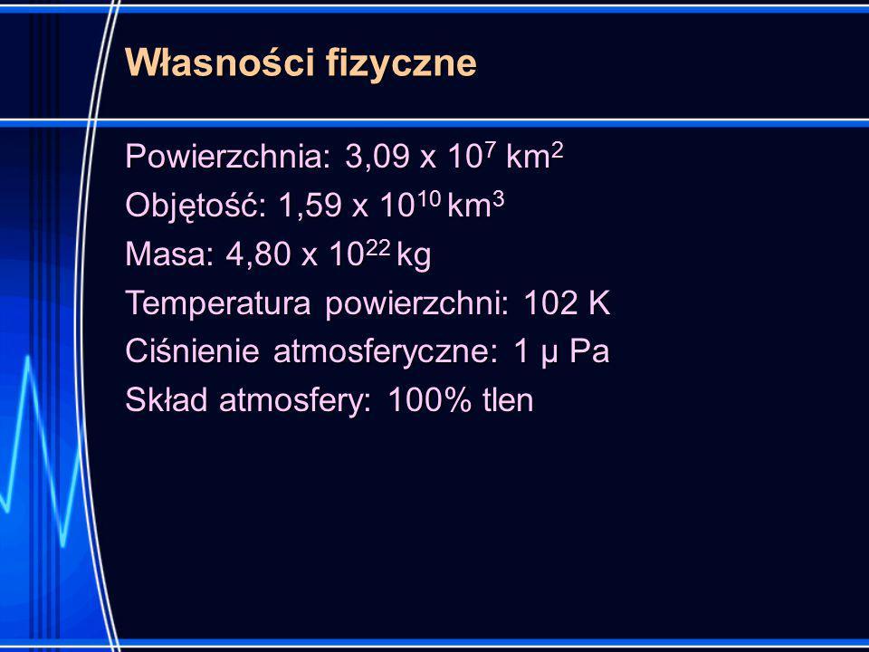 Własności fizyczne Powierzchnia: 3,09 x 107 km2 Objętość: 1,59 x 1010 km3 Masa: 4,80 x 1022 kg Temperatura powierzchni: 102 K Ciśnienie atmosferyczne: 1 μ Pa Skład atmosfery: 100% tlen