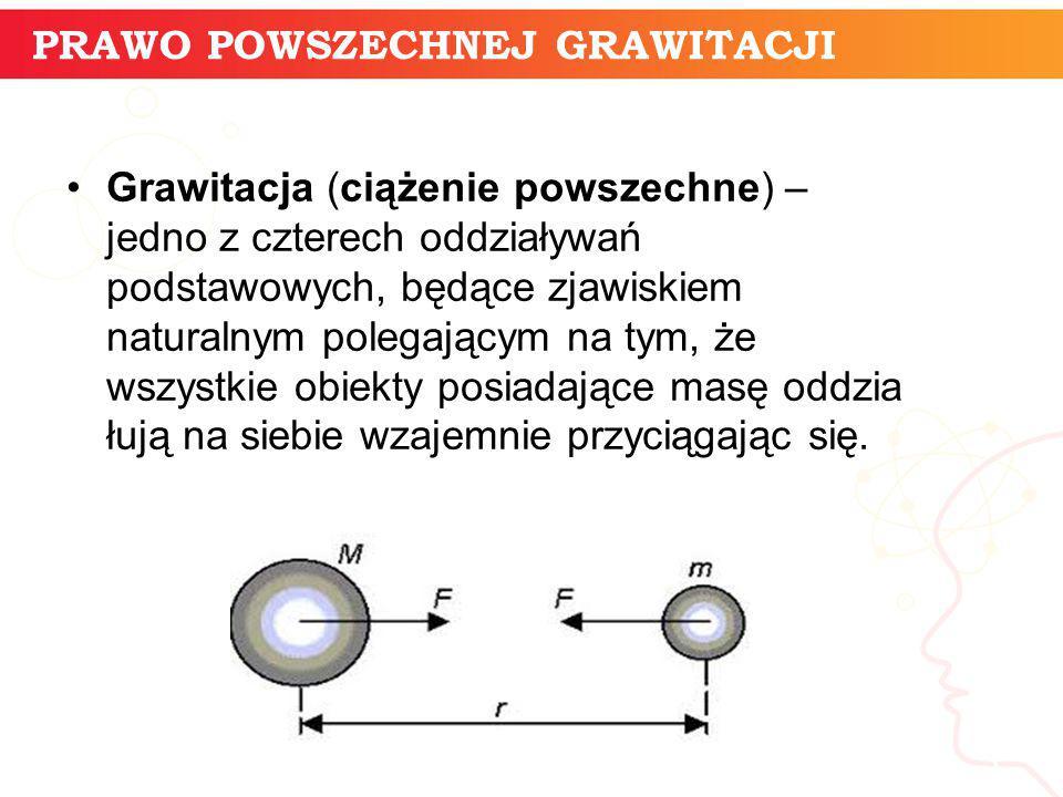 PRAWO POWSZECHNEJ GRAWITACJI informatyka + 3 Grawitacja (ciążenie powszechne) – jedno z czterech oddziaływań podstawowych, będące zjawiskiem naturalny
