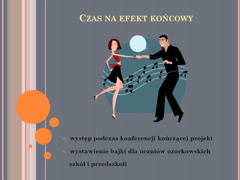  występ podczas konferencji kończącej projekt  wystawienie bajki dla uczniów ozorkowskich szkół i przedszkoli C ZAS NA EFEKT KOŃCOWY
