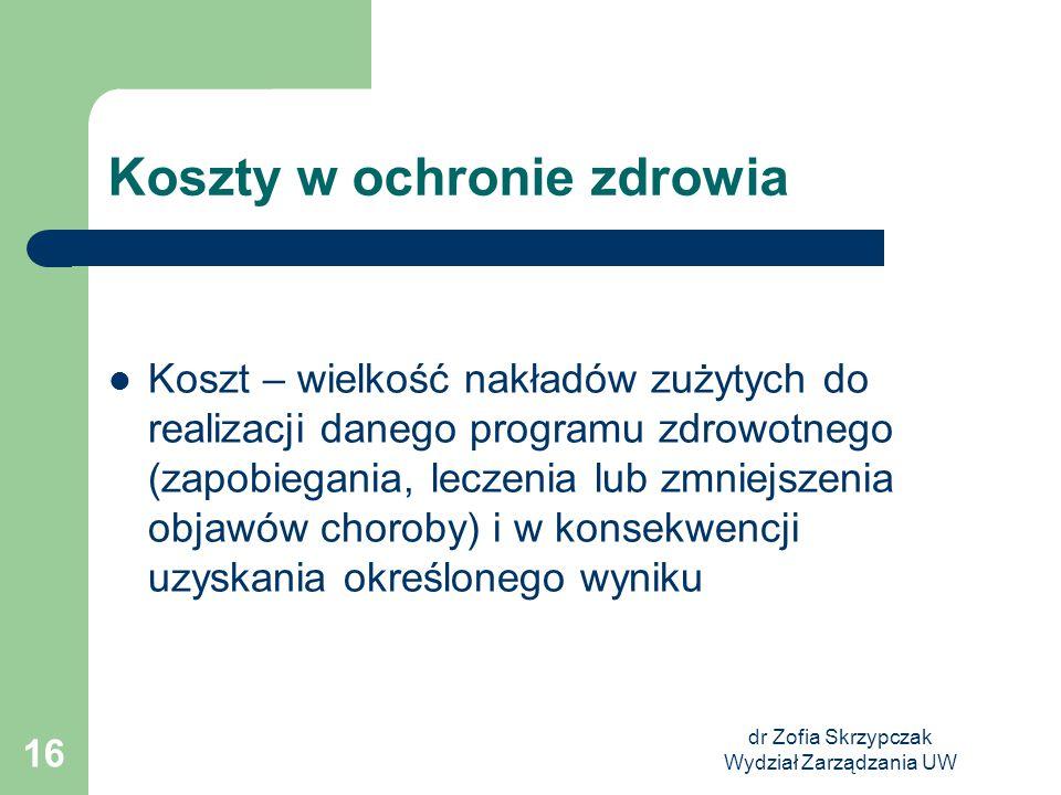 dr Zofia Skrzypczak Wydział Zarządzania UW 16 Koszty w ochronie zdrowia Koszt – wielkość nakładów zużytych do realizacji danego programu zdrowotnego (