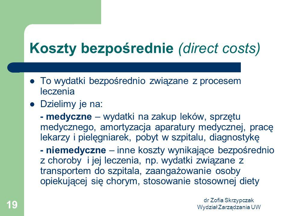 dr Zofia Skrzypczak Wydział Zarządzania UW 19 Koszty bezpośrednie (direct costs) To wydatki bezpośrednio związane z procesem leczenia Dzielimy je na: