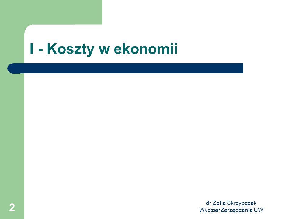 dr Zofia Skrzypczak Wydział Zarządzania UW 2 I - Koszty w ekonomii