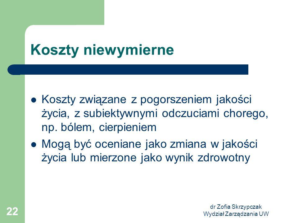 dr Zofia Skrzypczak Wydział Zarządzania UW 22 Koszty niewymierne Koszty związane z pogorszeniem jakości życia, z subiektywnymi odczuciami chorego, np.