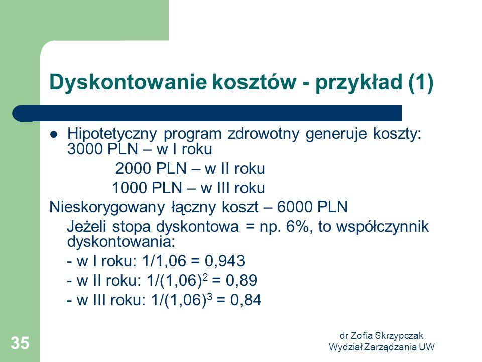 dr Zofia Skrzypczak Wydział Zarządzania UW 35 Dyskontowanie kosztów - przykład (1) Hipotetyczny program zdrowotny generuje koszty: 3000 PLN – w I roku