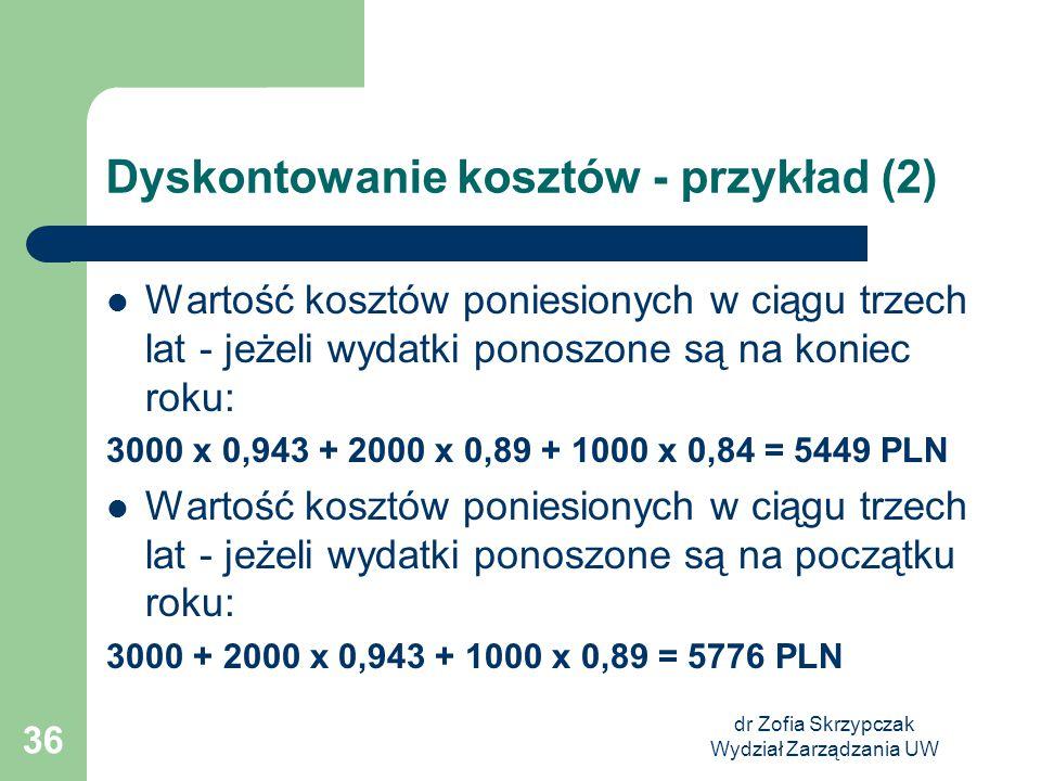 dr Zofia Skrzypczak Wydział Zarządzania UW 36 Dyskontowanie kosztów - przykład (2) Wartość kosztów poniesionych w ciągu trzech lat - jeżeli wydatki po