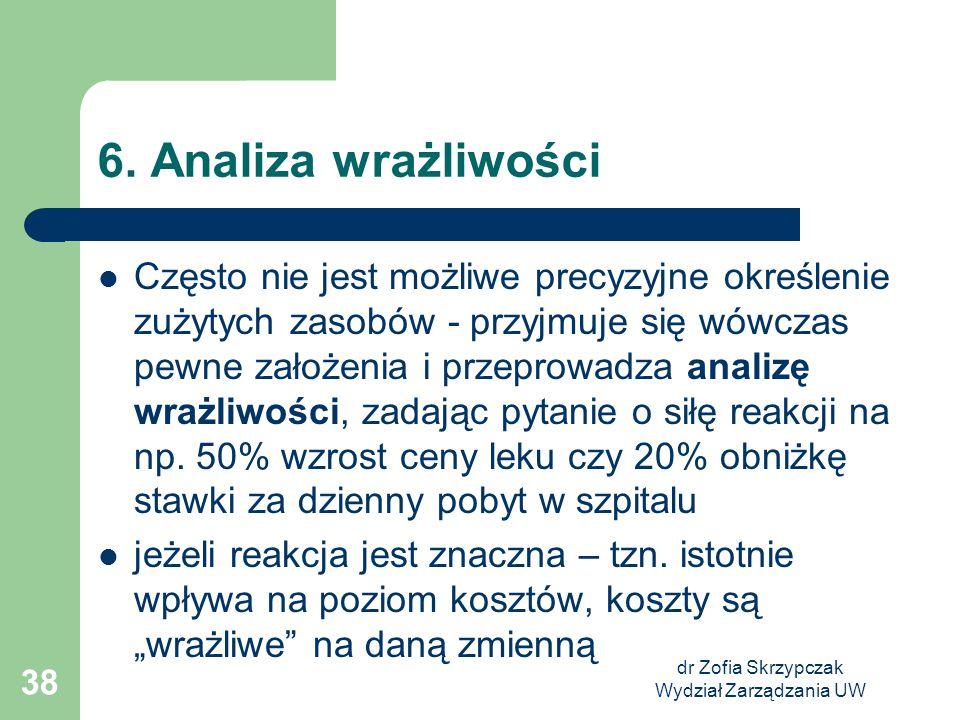 dr Zofia Skrzypczak Wydział Zarządzania UW 38 6. Analiza wrażliwości Często nie jest możliwe precyzyjne określenie zużytych zasobów - przyjmuje się wó