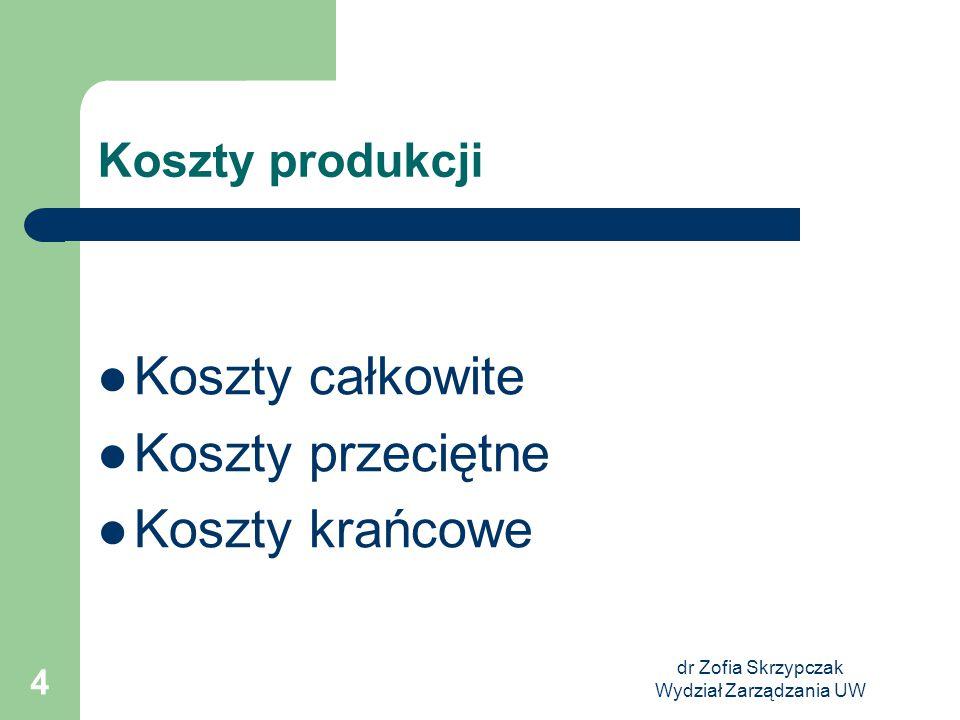 dr Zofia Skrzypczak Wydział Zarządzania UW 4 Koszty produkcji Koszty całkowite Koszty przeciętne Koszty krańcowe
