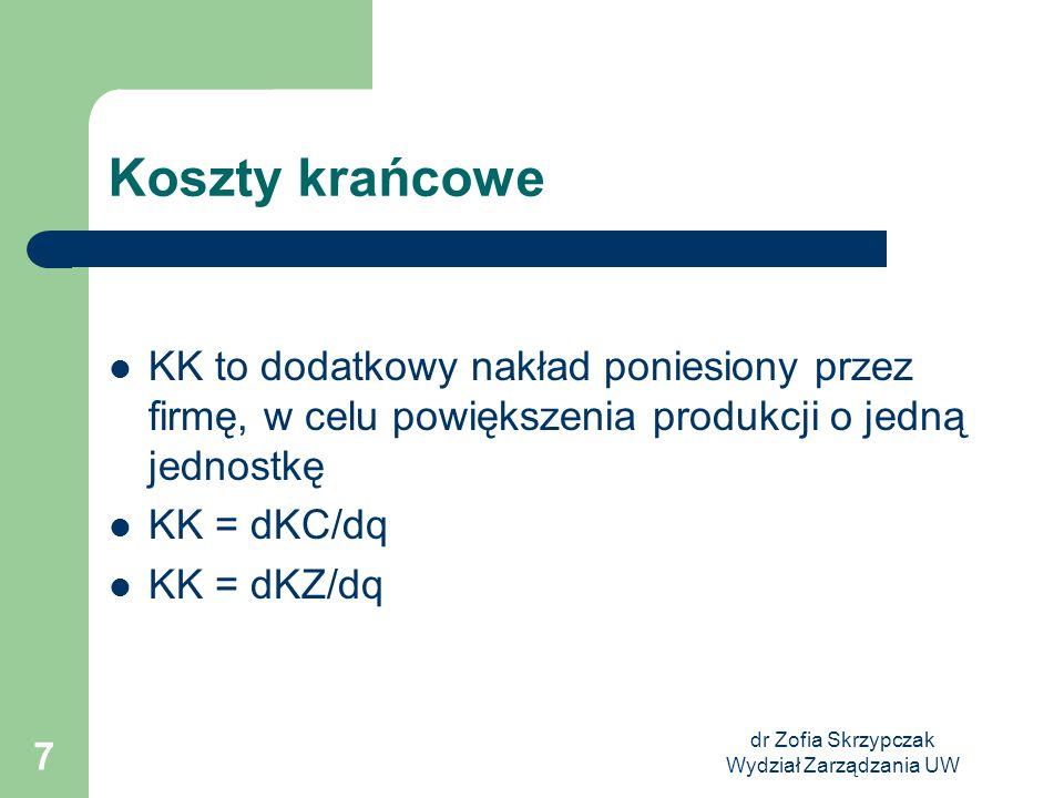 dr Zofia Skrzypczak Wydział Zarządzania UW 7 Koszty krańcowe KK to dodatkowy nakład poniesiony przez firmę, w celu powiększenia produkcji o jedną jedn
