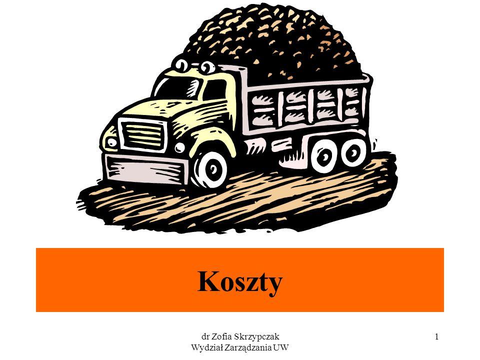 dr Zofia Skrzypczak Wydział Zarządzania UW 1 Koszty