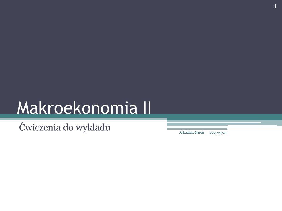 Makroekonomia II Ćwiczenia do wykładu 2015-03-29 1 Arkadiusz Sieroń