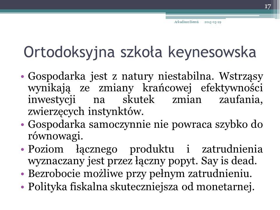 Ortodoksyjna szkoła keynesowska Gospodarka jest z natury niestabilna. Wstrząsy wynikają ze zmiany krańcowej efektywności inwestycji na skutek zmian za