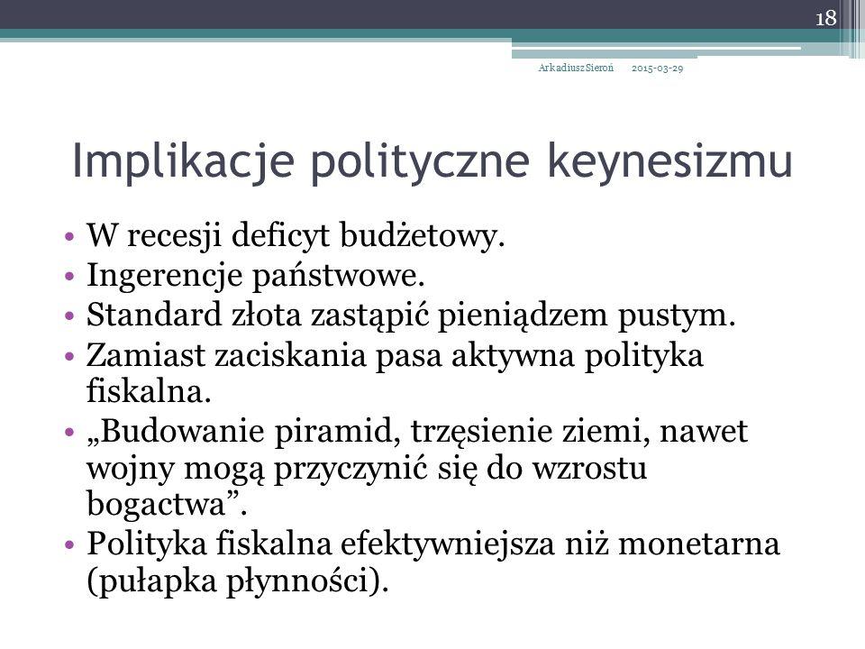 Implikacje polityczne keynesizmu W recesji deficyt budżetowy. Ingerencje państwowe. Standard złota zastąpić pieniądzem pustym. Zamiast zaciskania pasa