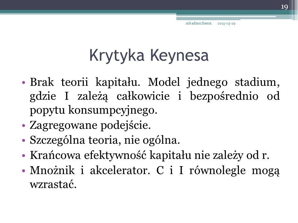 Krytyka Keynesa Brak teorii kapitału. Model jednego stadium, gdzie I zależą całkowicie i bezpośrednio od popytu konsumpcyjnego. Zagregowane podejście.
