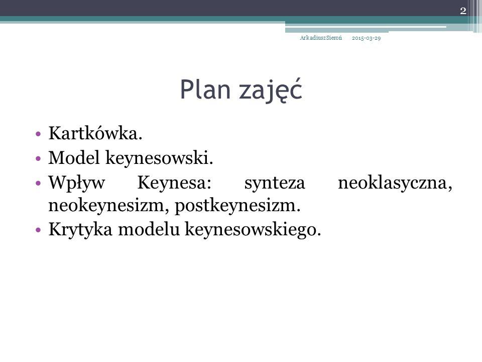 Plan zajęć Kartkówka. Model keynesowski. Wpływ Keynesa: synteza neoklasyczna, neokeynesizm, postkeynesizm. Krytyka modelu keynesowskiego. 2015-03-29 2