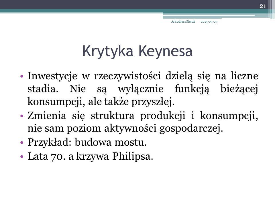 Krytyka Keynesa Inwestycje w rzeczywistości dzielą się na liczne stadia. Nie są wyłącznie funkcją bieżącej konsumpcji, ale także przyszłej. Zmienia si