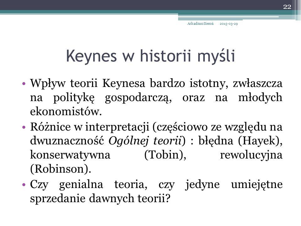 Keynes w historii myśli Wpływ teorii Keynesa bardzo istotny, zwłaszcza na politykę gospodarczą, oraz na młodych ekonomistów. Różnice w interpretacji (