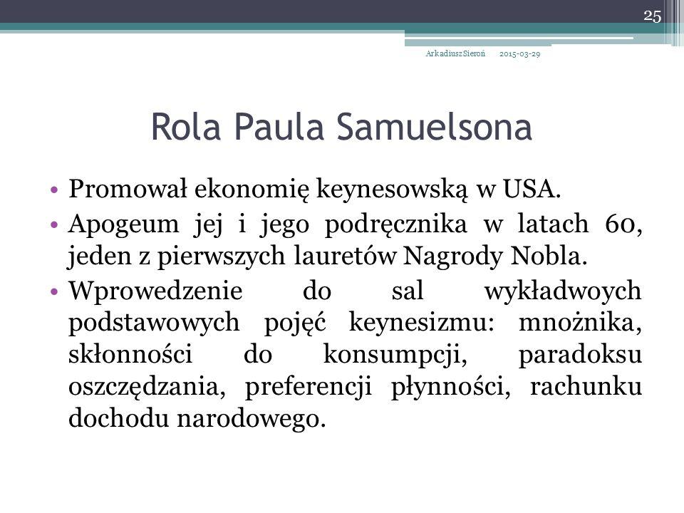 Rola Paula Samuelsona Promował ekonomię keynesowską w USA. Apogeum jej i jego podręcznika w latach 60, jeden z pierwszych lauretów Nagrody Nobla. Wpro