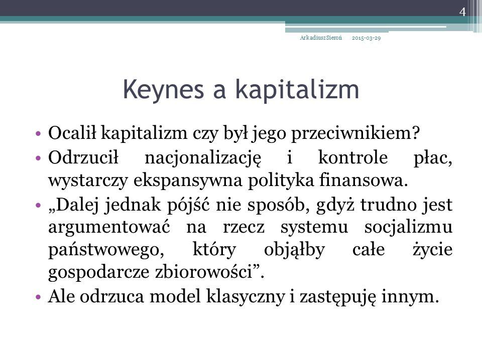 """Odrzucenie prawa Saya przez Keynesa Błędnie zinterpretował prawo Say'a: """"wszystko co zostało wyprodukowane znajduje automatycznie nabywcę ."""