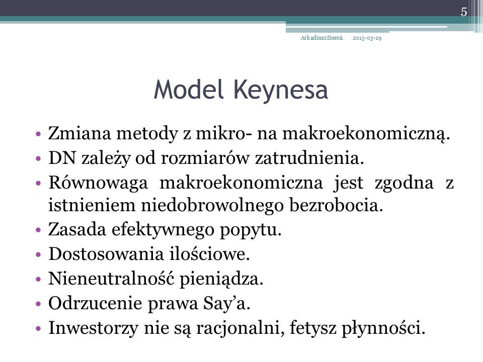 Model Keynesa Zmiana metody z mikro- na makroekonomiczną. DN zależy od rozmiarów zatrudnienia. Równowaga makroekonomiczna jest zgodna z istnieniem nie