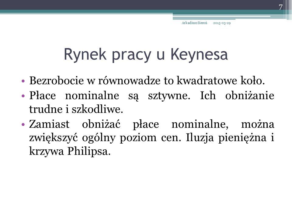 Implikacje polityczne keynesizmu W recesji deficyt budżetowy.