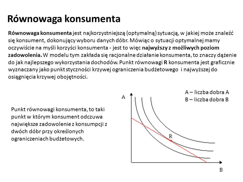 Równowaga konsumenta jest najkorzystniejszą (optymalną) sytuacją, w jakiej może znaleźć się konsument, dokonujący wyboru danych dóbr. Mówiąc o sytuacj