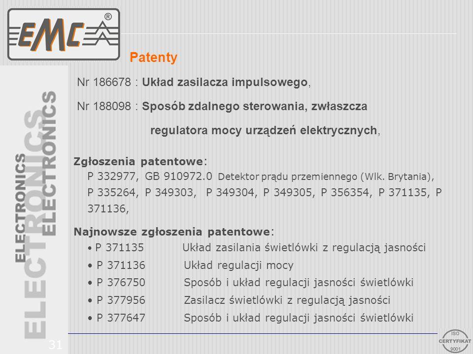Nr 186678 : Układ zasilacza impulsowego, Nr 188098 : Sposób zdalnego sterowania, zwłaszcza regulatora mocy urządzeń elektrycznych, 31 Patenty Zgłoszen
