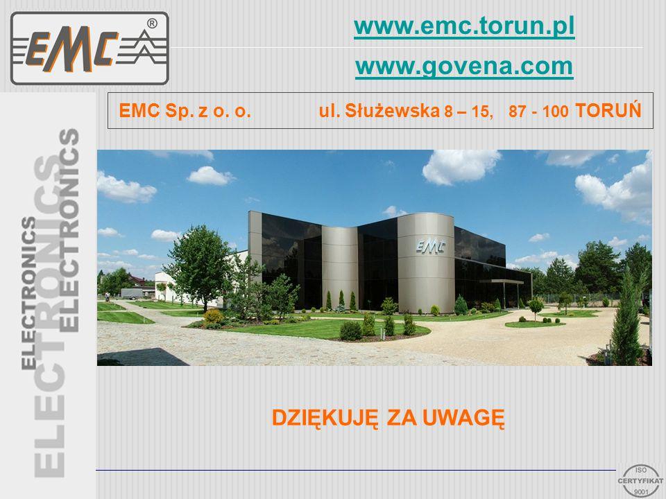 www.emc.torun.pl www.govena.com 32 EMC Sp. z o. o. ul. Służewska 8 – 15, 87 - 100 TORUŃ DZIĘKUJĘ ZA UWAGĘ